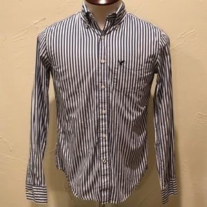 American Eagle XS White & Blue Striped Dress Shirt